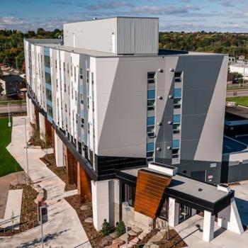An aerial view of the Trent University Durham GTA Residence & Academic Building.
