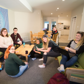 A group of students in the Champlain Annex