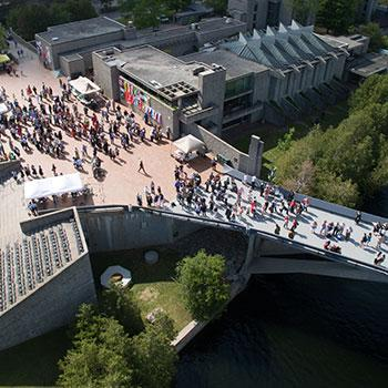 Aerial view of bridge on convocation