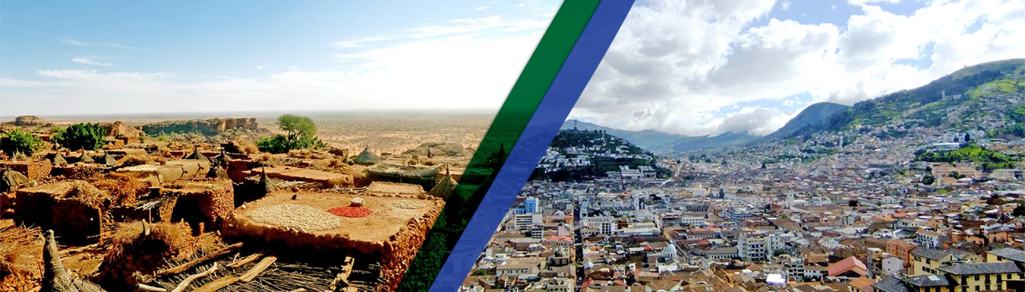 Aerial view of Ghana and Ecuador in the summer sun, separated by a green and blue vertical line