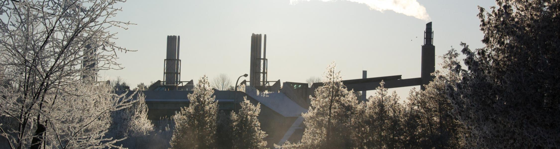 view of environmental science building at trent in winter