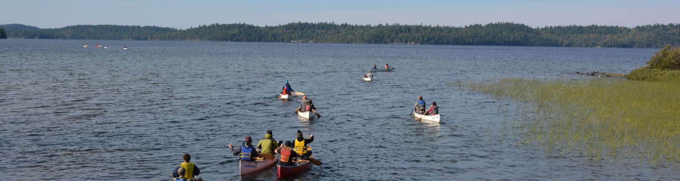 group of canoes out on the lake