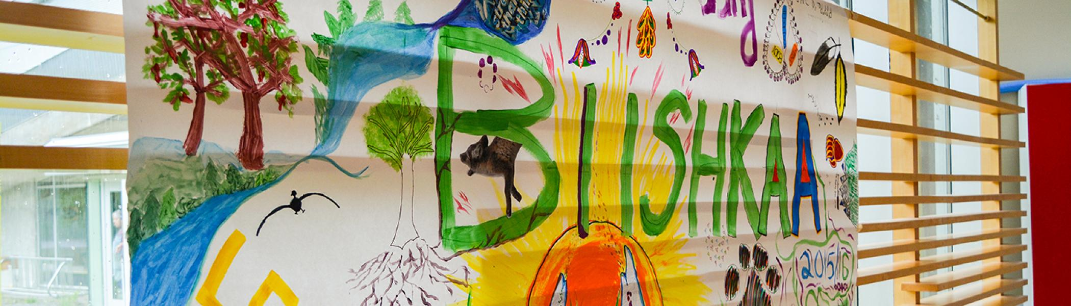 A poster painted with the word BUSHKA in the middle