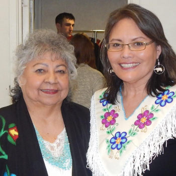 Elder Shirley Williams with PhD student Celine Vukson