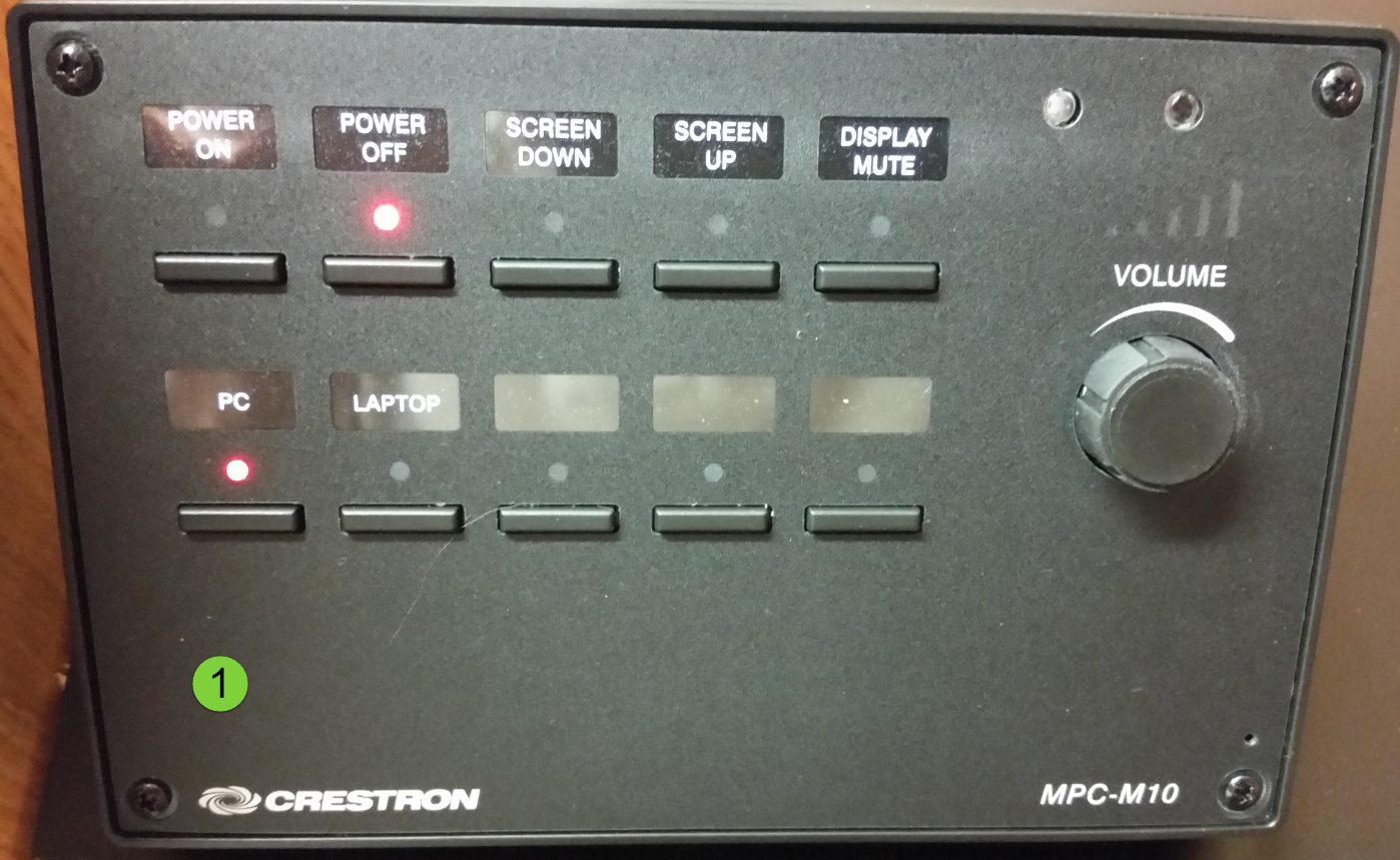 AV control panel with display on off buttons, source select buttons for PC and laptop,  pic mute button and volume dial