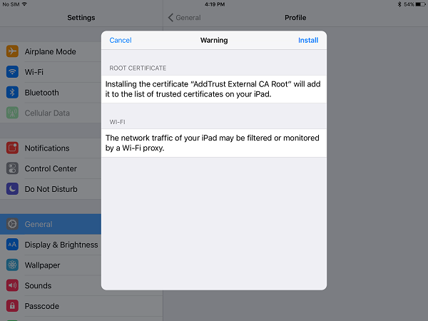 "Screen shot of ""Warning"" screen related to security certificate installation from eduroam configurator"