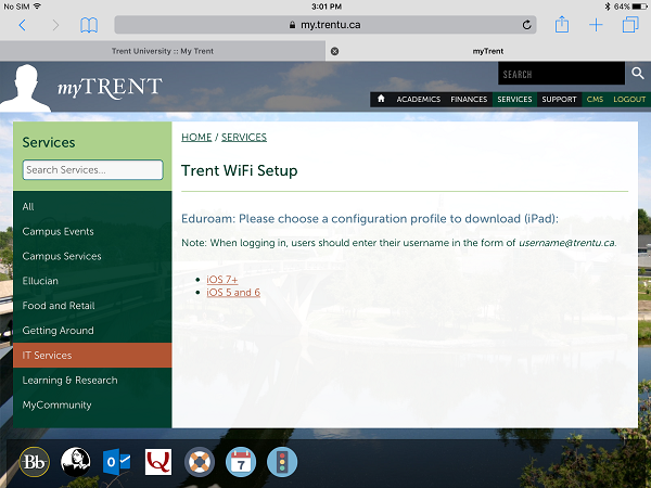 Screen shot of Trent's Wi-Fi eduroam configurator setup where users are asked to select an operating system if applicable for their device.