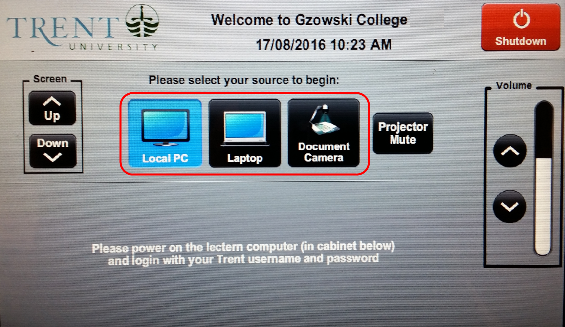 Screenshot of AV control panel main menu with source select buttons