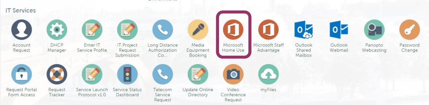 Screen shot of IT Services icons with Microsoft Home Use highlighted with a red circle