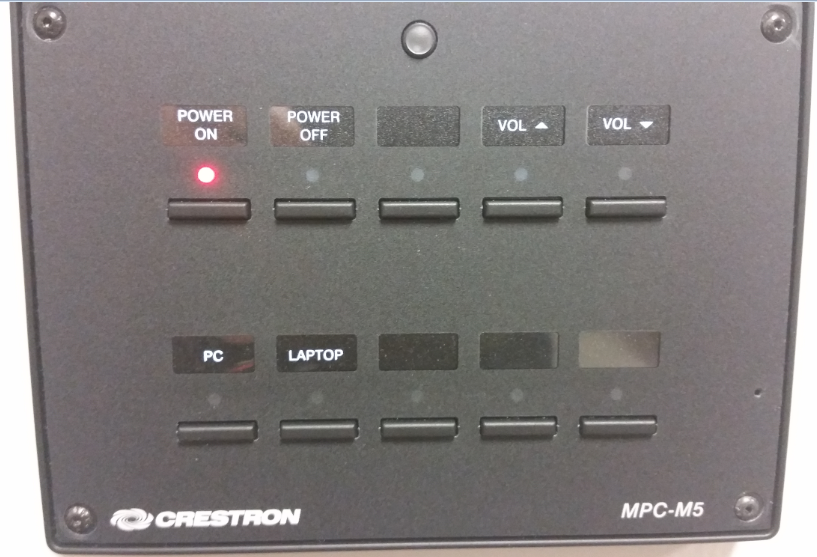audio visual control button  panel with push buttons for power on and off, volume up down, PC select and laptop select