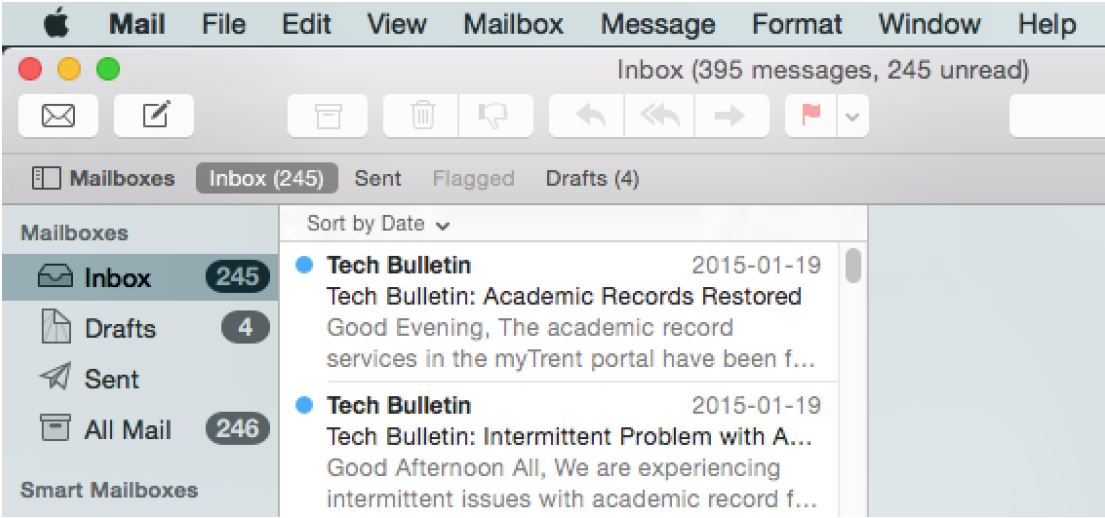 Screen Shot of MacMail in open state