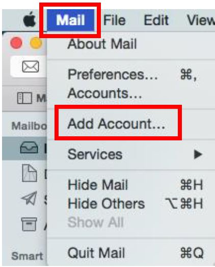 Screen shot of MacMail with selections noted as per Step 2