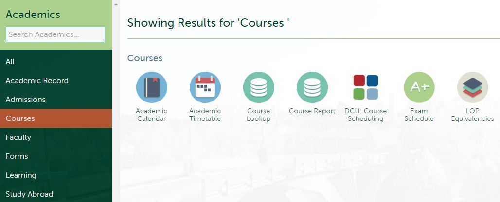 "Figure 1 - 2nd Nav with ""Courses"" Section Selection chosen so only icons for that section appear in results area"