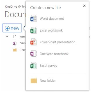 """Create New File"" dialog with application options such as Word, Excel"