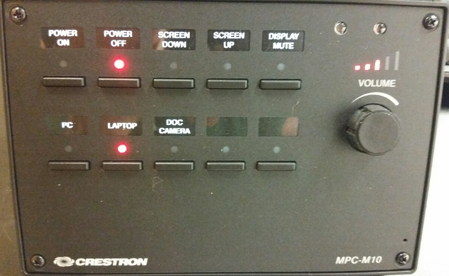 Crestron AV control panel with source select buttons, display mute,  power on off