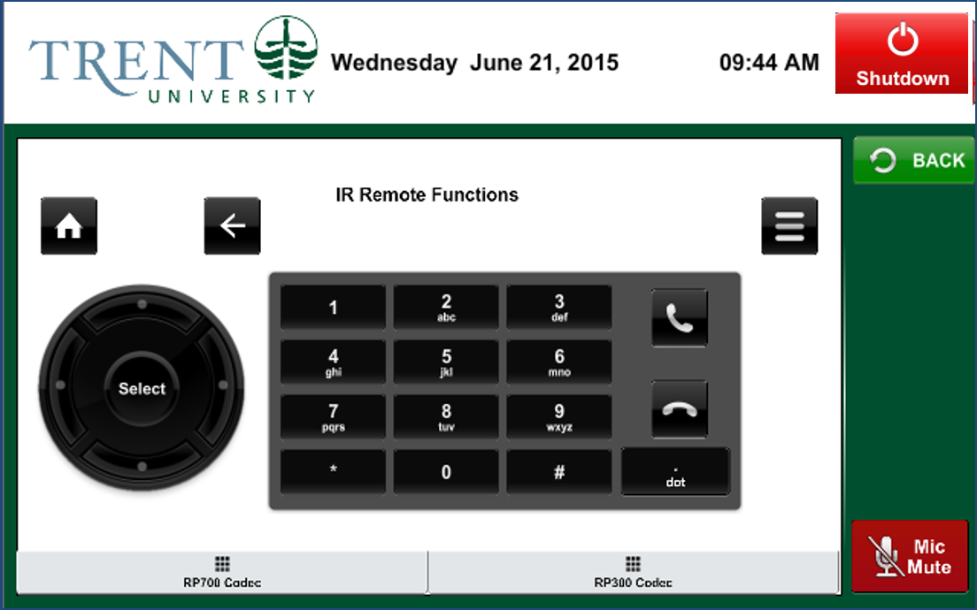 Video conference IR remote functions dialing controls