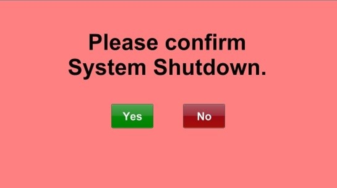 System shutdown confirmation prompt