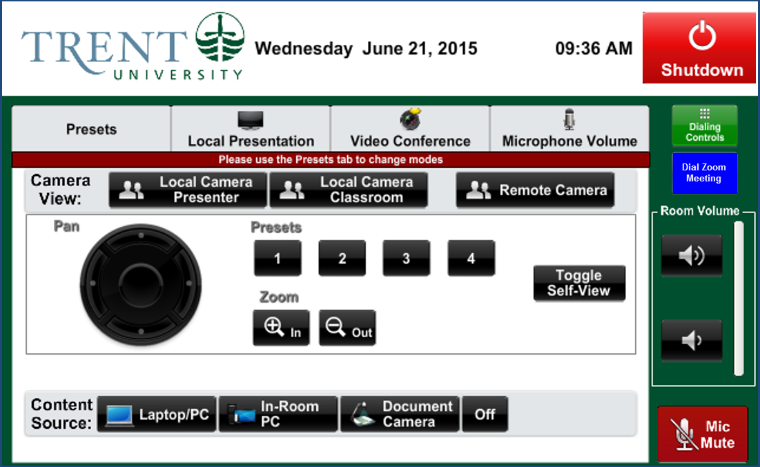 Screenshot of Audio Visual control panel camera controls for video conference