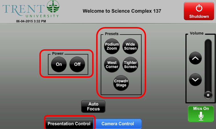 Screenshot of AV control panel camera controls