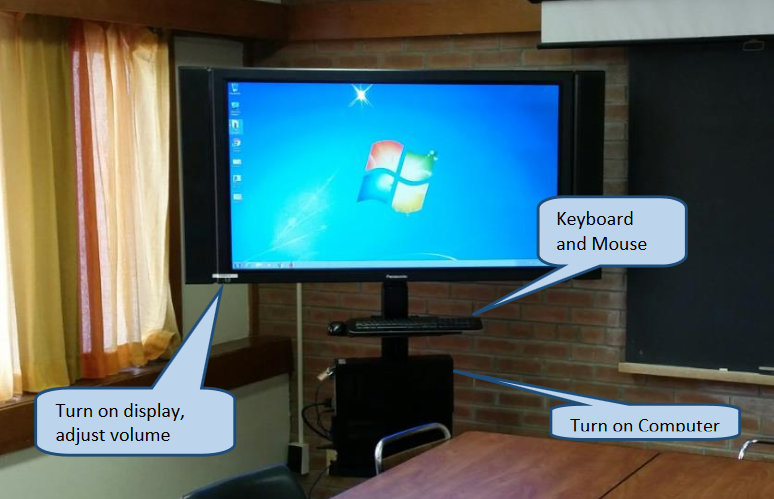 fifty  inch flat screen display with attached computer, and speakers