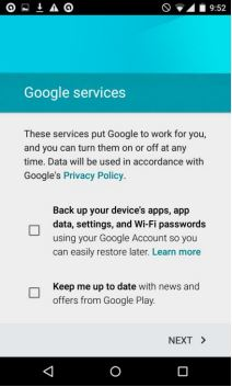 Step 9 - Google Services screen with options unchecked
