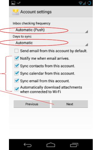 Android screen shot of Add an Exchange Account Settings menu as visual for Account Settings Steps 1 to 4