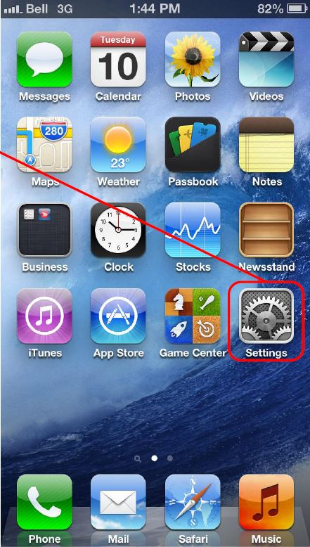 Screen shot of Apple iOS indicating to choose Settings menu from the home screen to get started installing ActiveSync