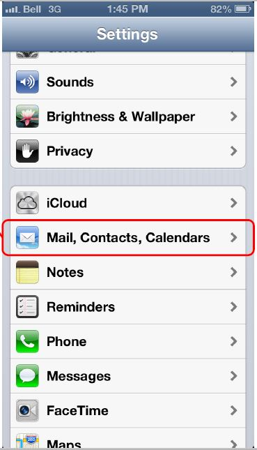 Screen shot of iOS indicatiing to choose Mail, Contact, Calendars in the Settings menu