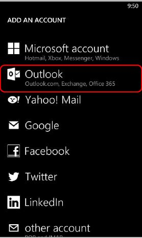 "Screen shot of Windows mobile ""Add an Account"" screen with Outlook circled for selection"