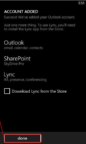 Screen shot of Windows mobile Account Added confirmation screen