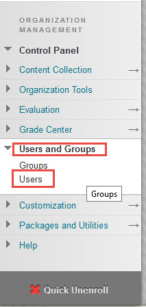 The control panel menu with Users and Groups, and Users highlighted