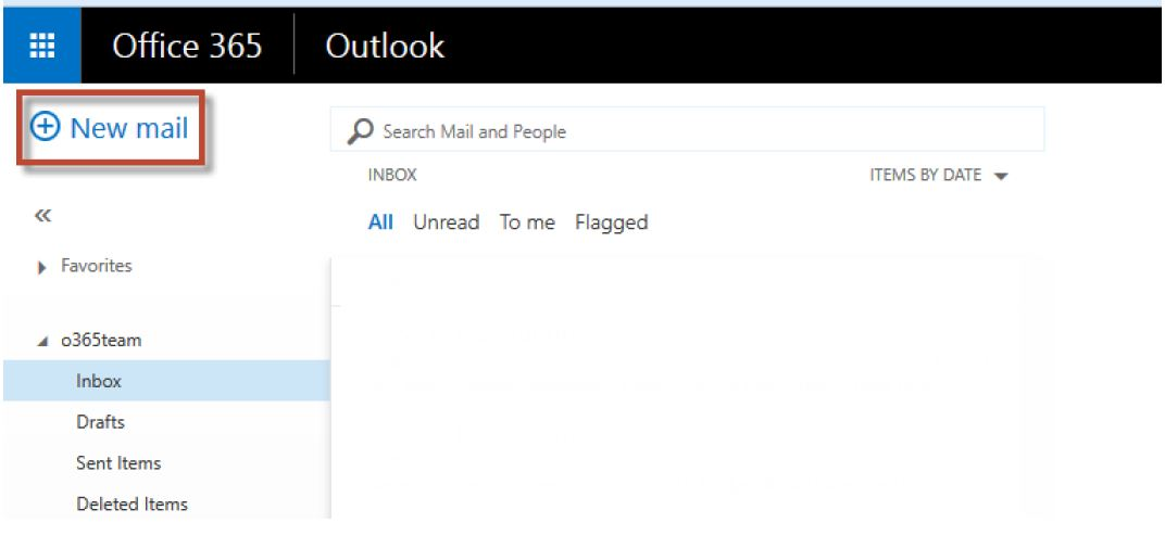 "Outlook web client screen shot with ""New Mail"" button highlighted for selection"