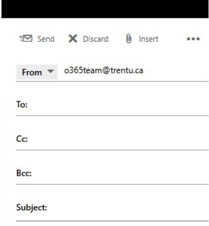 Screen shot from Outlook web client's Compose New email screen with Bcc field visible