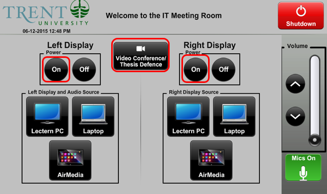 screenshot of audio visual control panel highlighting display power and video conference select
