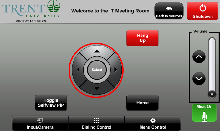 screenshot of video conference menu control