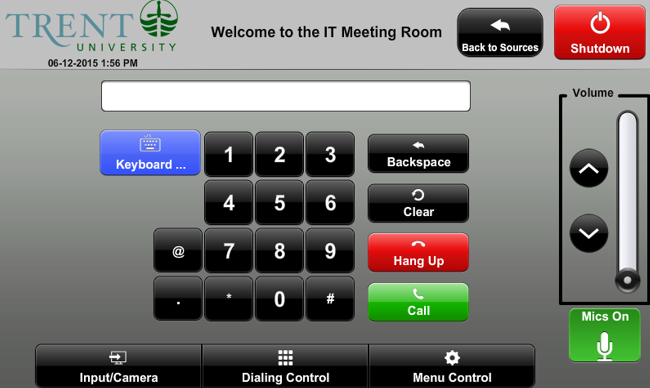 screenshot of  video conference dialing control
