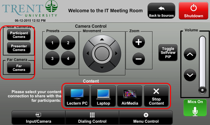 screenshot of video conference camera controls and content select options