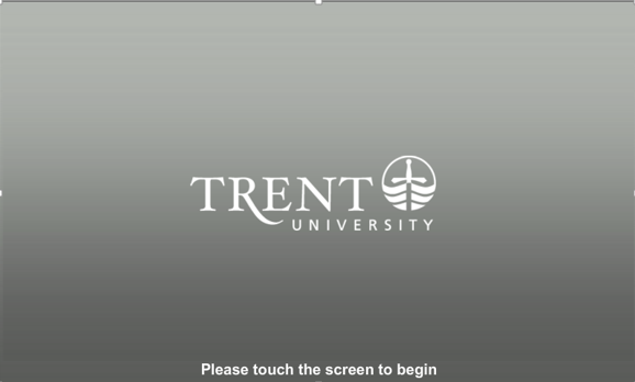 audio visual control panel start screen with Trent University logo