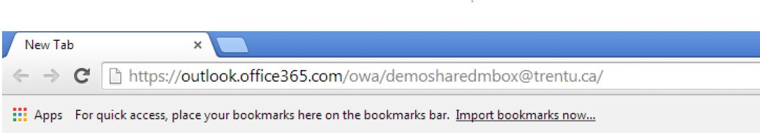 Screen shot of URL to access an Office 365 mailbox.Example shows mailbox name:  demosharedmailbox@trentu.ca
