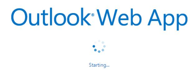 Screen shot of Outlook web app launch screen