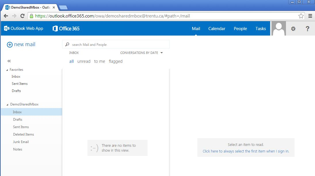 Screen shot of Outlook web app for demosharedmailbox@trentu.ca