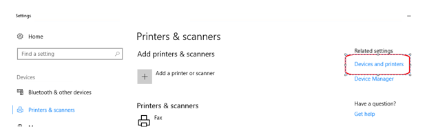 Settings page with Devices and Printers from right navigation Related Settings menu selected
