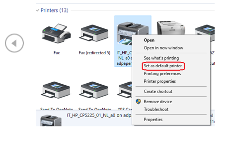 "Devices and printers page with device highlighted and right-click menu indicating ""Set as Default Printer"" indicated"