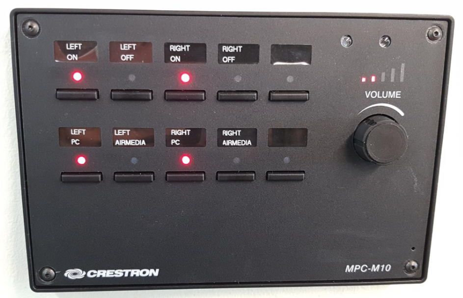 Audio visual control button panel.