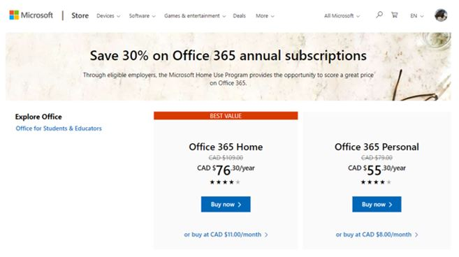 "Microsoft store subscription page with pricing indicated: $76.95 Canadian dollars for Office 365 Home, and $55.30/year indicated for Office 365 Persoanal with ""Buy Now"" buttons for each option"