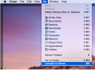 Unfolded Go menu on a Mac with Connect to Server highlighted for selection