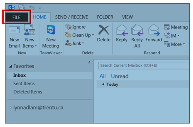 Outlook desktop client with File tab highlighted for selection (Steps 1 to 3)