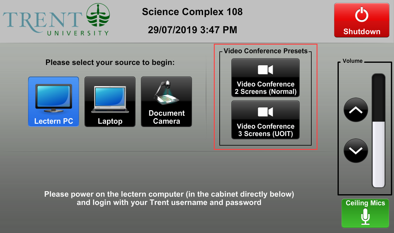 Screenshot of Audio Visual control panel main menu with source select buttons and video conference presets highlighted