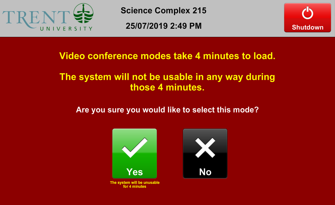 sc215 video conference four minute startup warning
