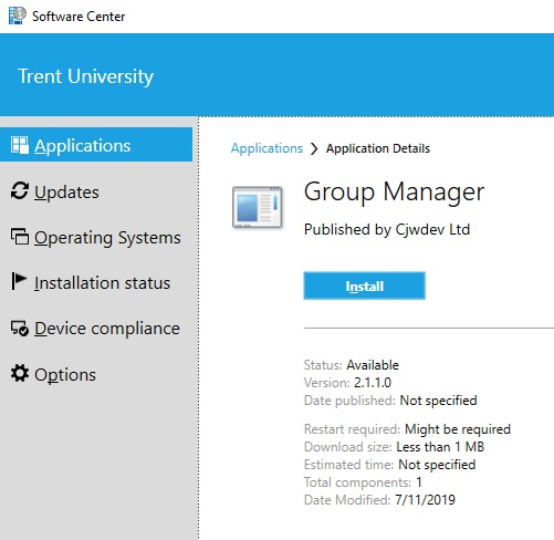 Screen shot of Trent University/Software Center/Applications/Group Manager with Install button and application details in selection area
